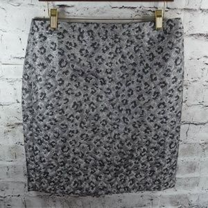 Loft Animal Print Metallic Brocade Pencil Skirt